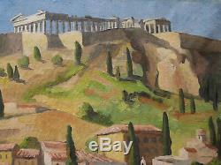 Hélène BESNARD GIRAUDIAS tableau paysage grec Plaka Athènes Acropole Grèce huile