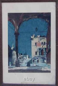 Henri Rivière 1864-1951. Magnifique & Grande Aquarelle. Une Vue Animée De Venise