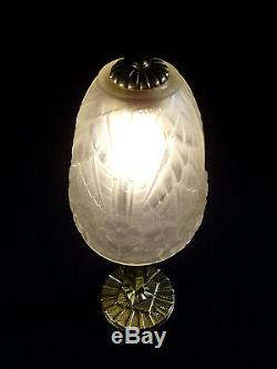 Hettier & Vincent Lampe Art Déco En Bronze & Tulipe En Verre Pressé Signée 1930