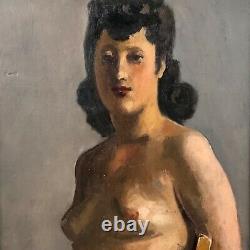 Huile sur panneau Année 40, femme nue assise, signe Heuzé