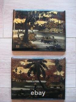 INDOCHINE VIETNAM paire de tableaux en LAQUE signées années 50 ART ASIATIQUE