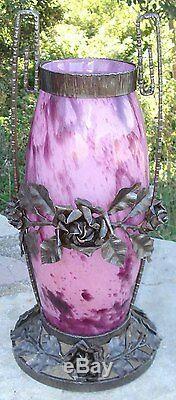-Important Vase Verre Art Deco Monture Fer Forgé 1930 signé A. Delatte Nancy
