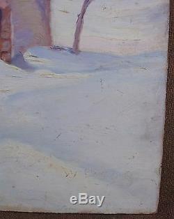 Intéressante peinture à l'huile Paysage des Alpes signée W BOOG