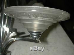 Joli lustre Art Déco moderniste 4 feux en laiton chromé signé BEV 609