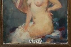 Julien Tavernier (1879-c. 1938) Nu de femme au miroir, art déco