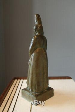 KERLEROUX & Susse fondeur Bretonne en habit Bronze art deco signe
