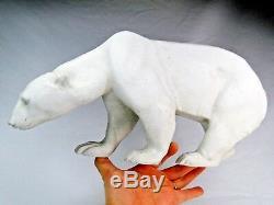 L. Riche Rarissime Ours Blanc Art Deco Sculpture Biscuit De Porcelaine Dlg Sevres