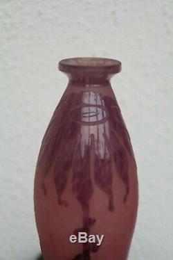 LE VERRE FRANCAIS Vase Art Déco DAHLIA Pâte de Verre signée