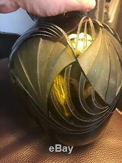 LEGRAS VASE debut XXe Signe Grave Acide Vase Boule Glass ART DECO