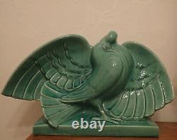 LEJAN Couple de colombes céramique craquelée d'époque Art déco