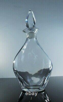 Lalique France Ancienne Carafe Cristal Souffle Modelé Flamme Signée Art Déco