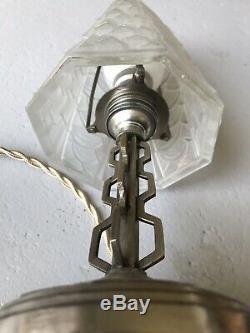 Lampe Art Deco Tulipe Non Signee French Lamp Vasque Muller Degue Daum Lustre