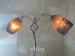 Lampe Art Nouveau, Art déco à tulipe signée DEGUE. Arts & Crafts, Schneider Daum