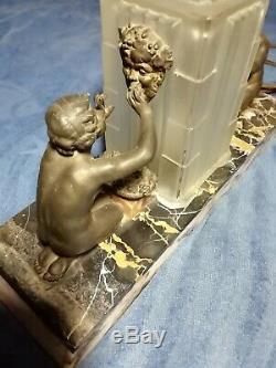 Lampe Chevet Signée SABINO Statuettes Bronze BACHUS Vigne Vin Luminaire Art Déco