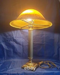 Lampe Époque Art-Déco Bronze Où Laiton Pâte De Verre Signé Vianne