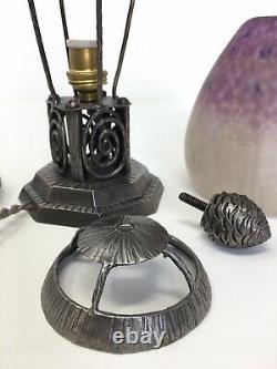 Lampe Veilleuse Art Deco Fer Forgé Tulipe Pâte De Verre Signée Schneider