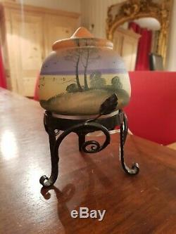 Lampe ancienne, veilleuse en verre Art déco signée KOLEK