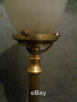 Lampe art déco pied bronze et tulipe pâte de verre signée noverdy