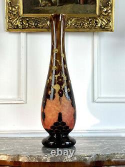 Le Verre Français Grand Vase En Verre Moucheté Signé Epoque Art Deco / H 55cm