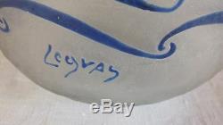 Legras vase givré émaillé bleu art déco signé