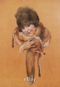 Léo FONTAN dessin tableau portrait jeune femme fille enfant 1920 Art Déco renard