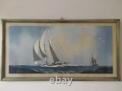 Leon Haffner Gouache originale voilier