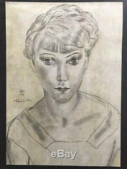 Leonard Tsuguharu FOUJITA gravure portrait de jeune fille Art Deco 1930