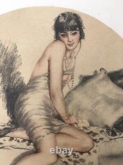 Lithographie Art Déco Portrait Femme Sensuelle Peau de Bête William Ablett
