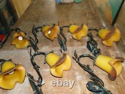 Lot de 7 Appliques magnifique tulipe en pâte de verre signée VIANNE