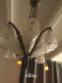 Lustre Art Deco Signe Degue 1930 Tulipe Vasque Plaque Muller Daum