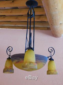 Lustre vasque + 3 tulipes époque Art Déco signées GV de Croismare MULLER