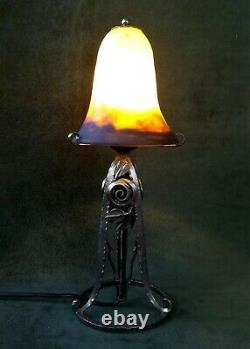 MULLER Lampe art déco fer forgé tulipe signée pâte de verre 1930 veilleuse