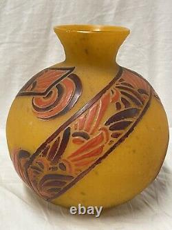 Magnifique Grand Vase Boule Signé Legras En Pate De Verre Art Deco