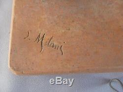 Magnifique Platre Art Deco Signe S. Melani Femme En Maillot 1900