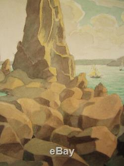 Marcel Alloueteau Dessin Paysage Breton Locquirec Bretagne Art Francais France