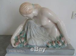 Maurice Guiraud Rivière ceramique art-déco manufacture André Fau Boulogne femme