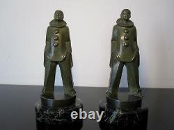 Max Le Verrier Serre-livres statuettes Pierrot. Signés M Le Verrier
