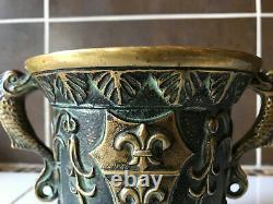 Mortier En Bronze Ancien Signé M. Le Verrier Et Son Pilon Excelllent État
