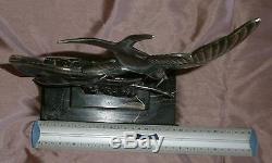Oiseaux art déco en métal argenté socle marbre portor (fissure) Sculpteur M FONT