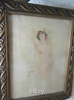 PHRYNE AQUARELLE ART DECO SIGNEE ENCADREE Datée 1922