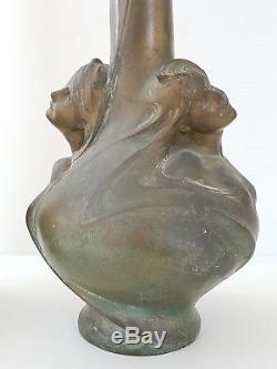 Paire De Grands Vases Art Nouveau Bronze Helene Sibeud Signes Melle Sibeud 1900