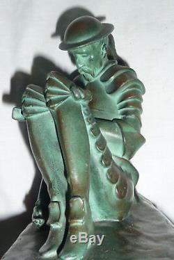 Paire De Serre-livres Art Déco Don Quichotte Signée Jante