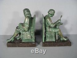 Paire De Serre-livres Signée Le Verrier/serre-livres Le Savetier Et Le Financier