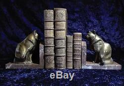 Paire de serres livres Chats signé M. Leducq Art Déco