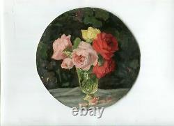 Peinture Huile Vintage signé Peinture, Bouquet de Roses