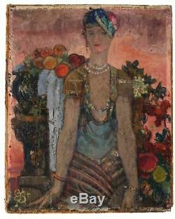Peinture Tableau Ancien signé Art Déco Moderne Femme aux Fruits, Monogrammée