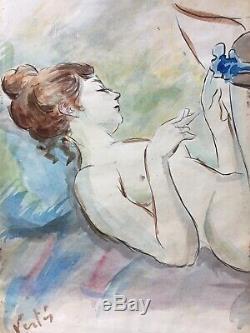 Peinture ancienne art deco Marcel Vertes aquarelle nu allongé erotica erotisme