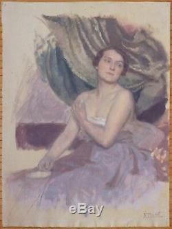 Peinture de Fernand BIVEL (1888-1950) vers 1915 Femme à sa toilette