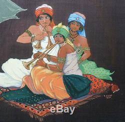 Peinture signée HOFT datée 1930 LES MILLE ET UNE NUITS orientalisme Art Deco