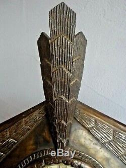 Pendule JAZ art deco en fer forgé 1930 africaniste signée, style brandt, subes